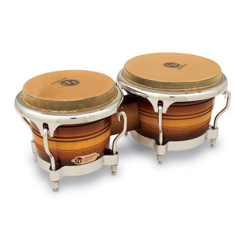 This is a picture of a LP Generation II Wood Bongos Matte Sunburst Chrome Hardware