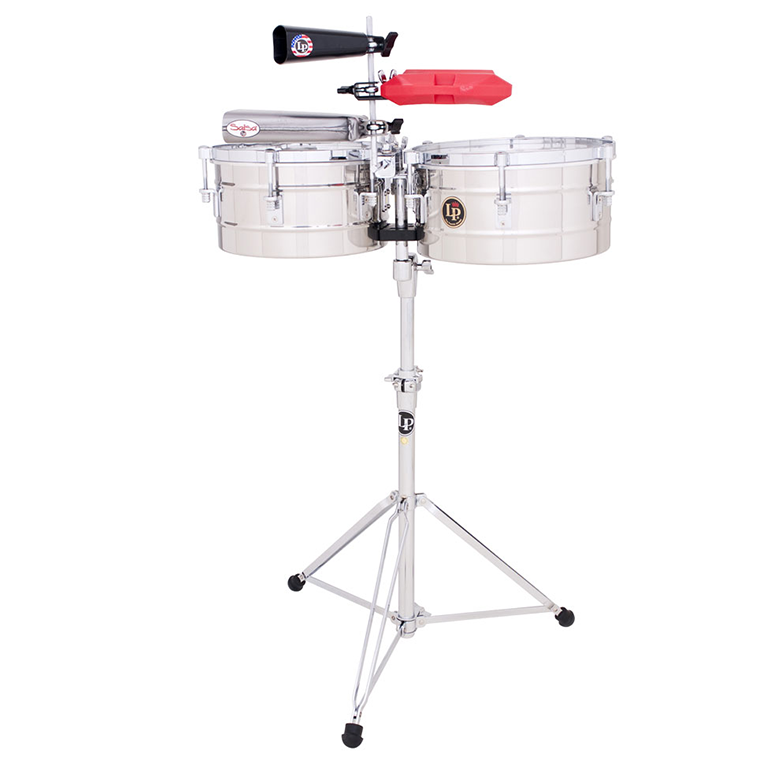 This is a picture of a LP Tito Puente Timbales 13'' & 14'' Stainless Steel