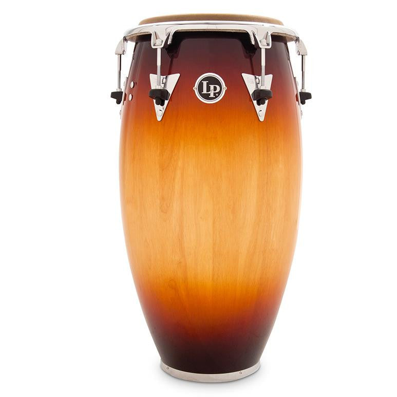 This is a picture of a LP Classic Wood Top Tuning 11 3/4'' Conga  Vintage Sunburst Chrome Hardware