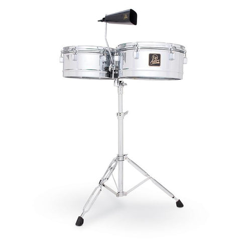 This is a picture of a LP Aspire Timbales 13'' & 14'' Chrome