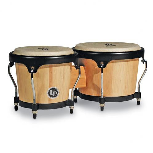 This is a picture of a LP Aspire Wood Bongos Natural