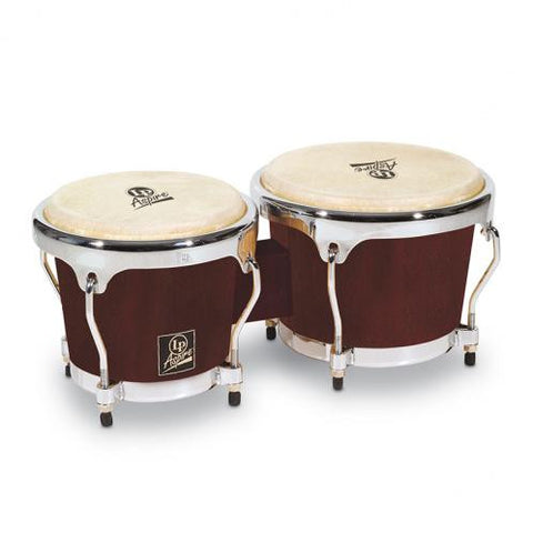 This is a picture of a LP Aspire Wood Bongos Dark Wood