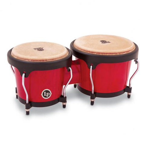 This is a picture of a LP Aspire Wood Bongos Red Wood