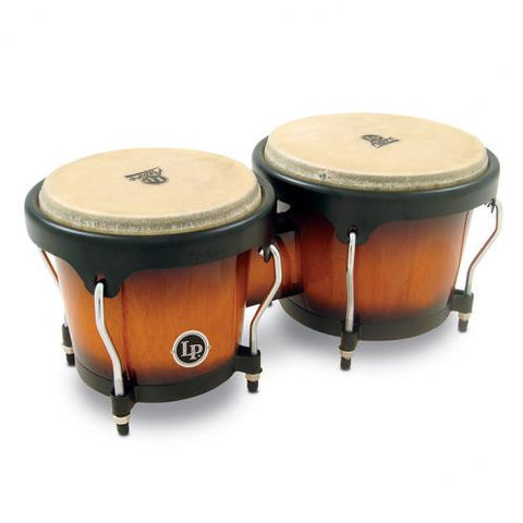 This is a picture of a LP Aspire Wood Bongos Vintage Sunburst