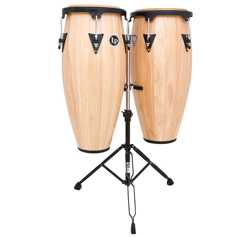 This is a picture of a LP Aspire Wood Conga Set 11'' & 12'' Natural with Double Stand