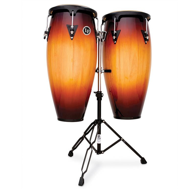 This is a picture of a LP Aspire Wood Conga Set 11'' & 12'' Vintage Sunburst with Double Stand