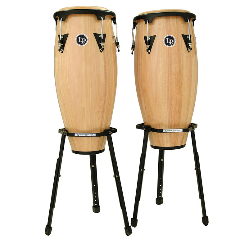 This is a picture of a LP Aspire Wood Conga Set 10'' & 11'' Natural with Basket Stands