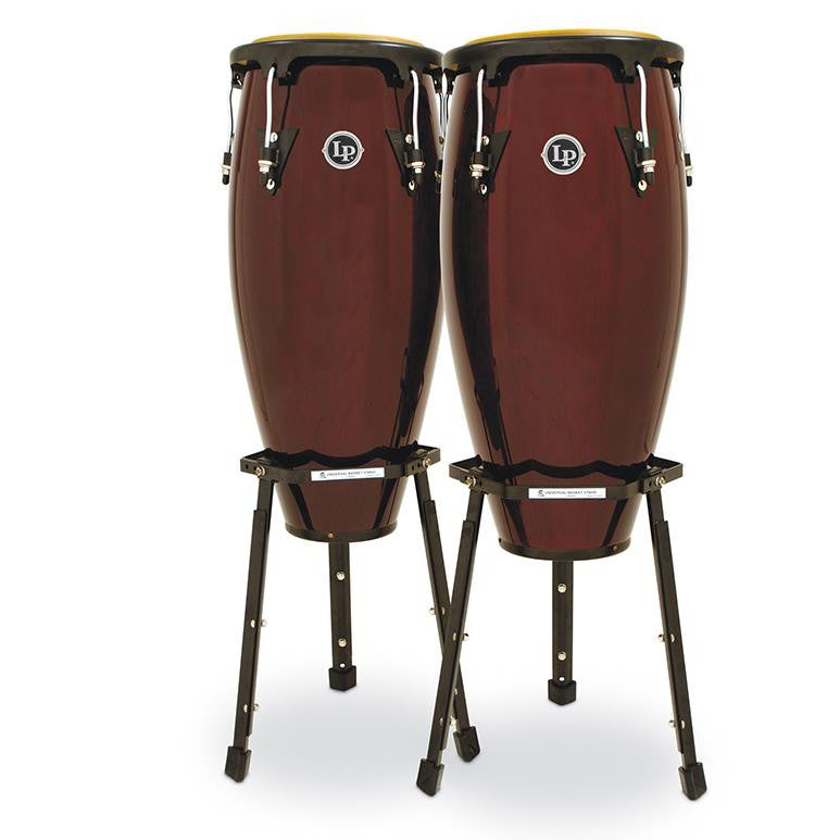 This is a picture of a LP Aspire Wood Conga Set 10'' & 11'' Dark Wood with Basket Stands