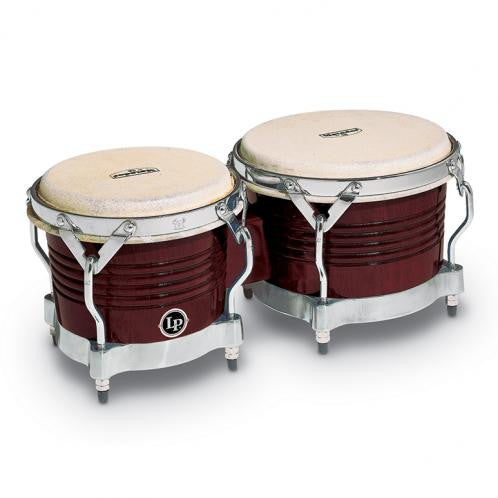 This is a picture of a LP Matador Wood Bongos Almond Brown Chrome Hardware