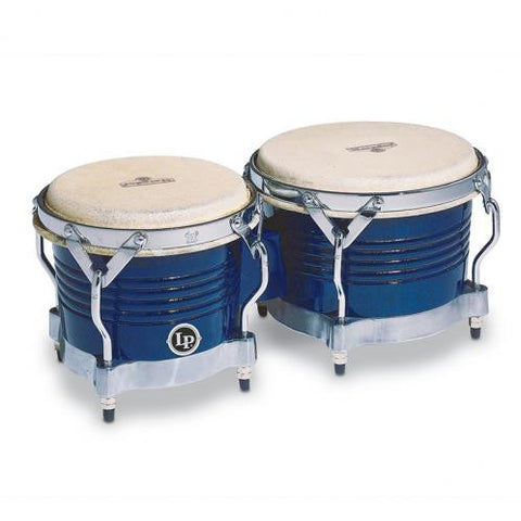 This is a picture of a LP Matador Wood Bongos Blue Chrome Hardware