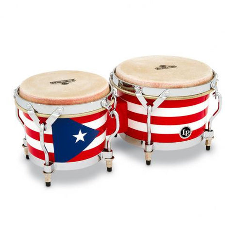 This is a picture of a LP Matador Wood Bongos Puerto Rican Flag Chrome Hardware