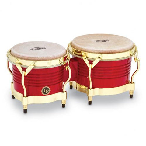This is a picture of a LP Matador Wood Bongos Red Gold Hardware
