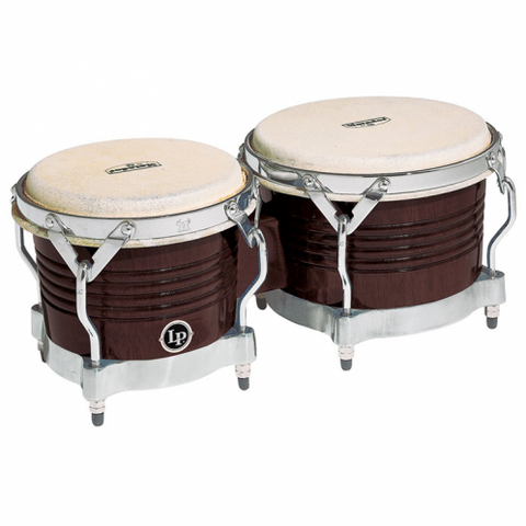 This is a picture of a LP Highline Bongos Satin Black Black Nickel Hardware