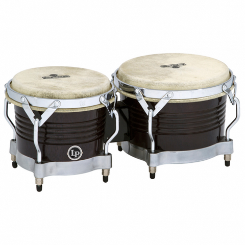 This is a picture of a LP Matador Wood Bongos Black Chrome Hardware