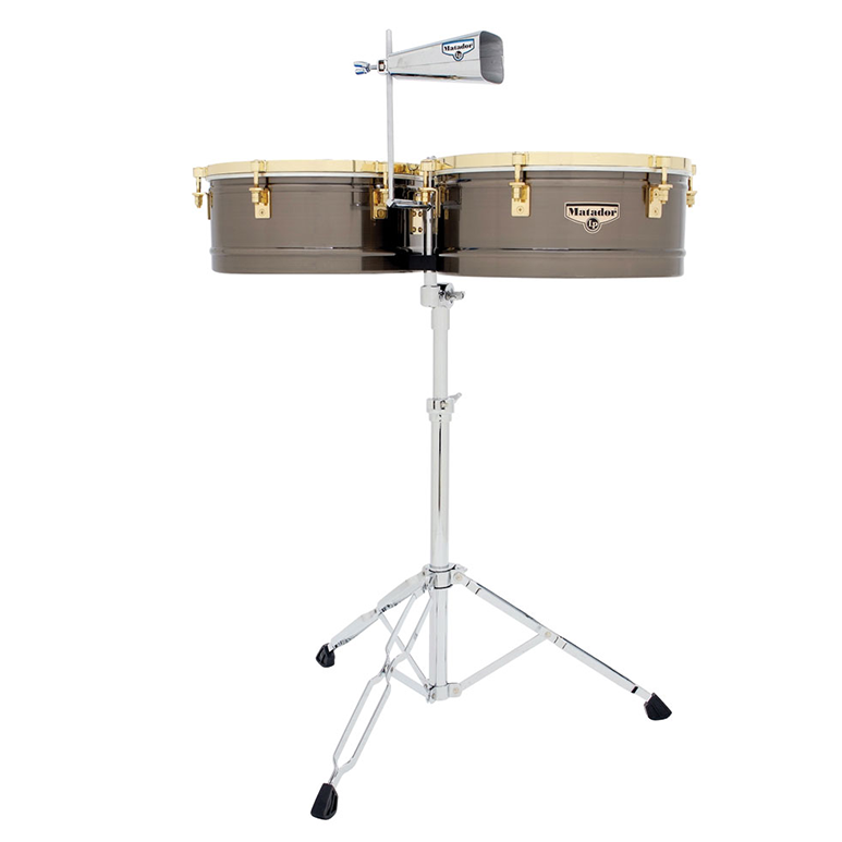 This is a picture of a LP Matador Timbales 14/15 Brushed Nickel/Gold Tone