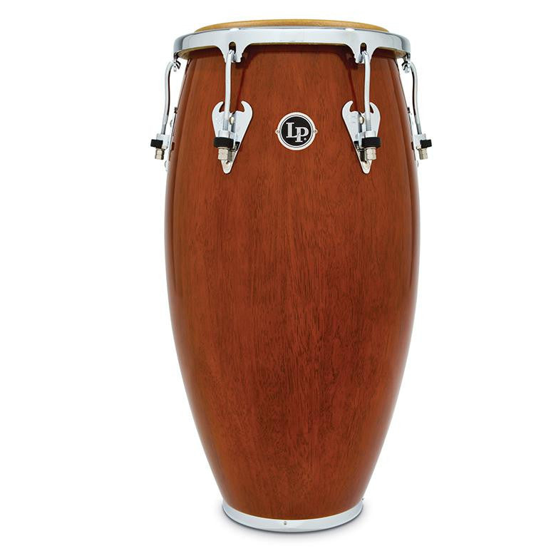 This is a picture of a LP Matador Wood 11'' Quinto Almond Brown Chrome Hardware