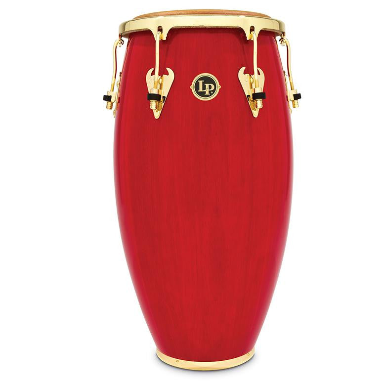 This is a picture of a LP Matador Wood 11'' Quinto Red Gold Hardware