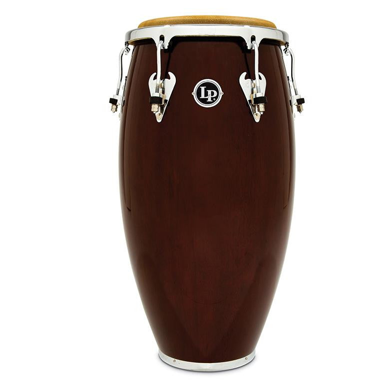 This is a picture of a LP Matador Wood 12 1/2'' Tumba Dark Brown Chrome Hardware