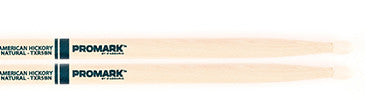 "This is a picture of a ProMark TXR5B Hickory 5B ""The Natural"" Nylon Tip Drum Sticks"