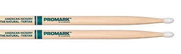 "This is a picture of a ProMark TXR7A Hickory 7A ""The Natural"" Nylon Tip Drum Sticks"
