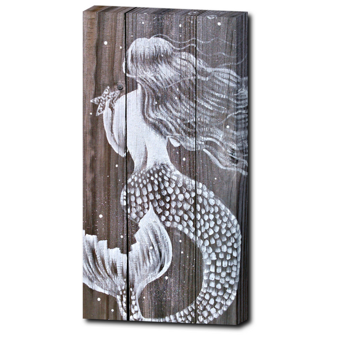 White Mermaid Print on wrapped canvas beautiful fence pickets image