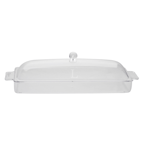 Monogrammed Lucite Long Tray with Cover