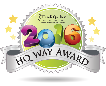 "The Quilt Store - Proud Recipient of the HandiQuilter ""HQ Way Award"""