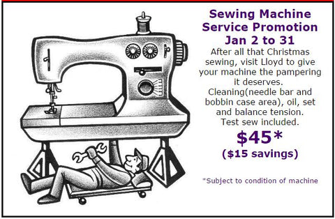 Sewing Machine Service Promotion at The Quilt Store