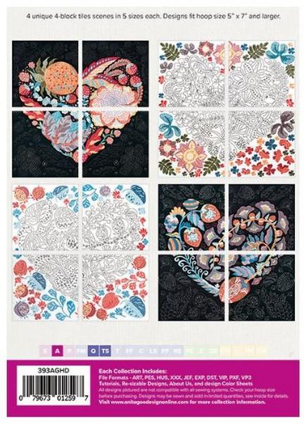 Anita Goodesign Heart Tile Scenes available in Canada at The Quilt Store