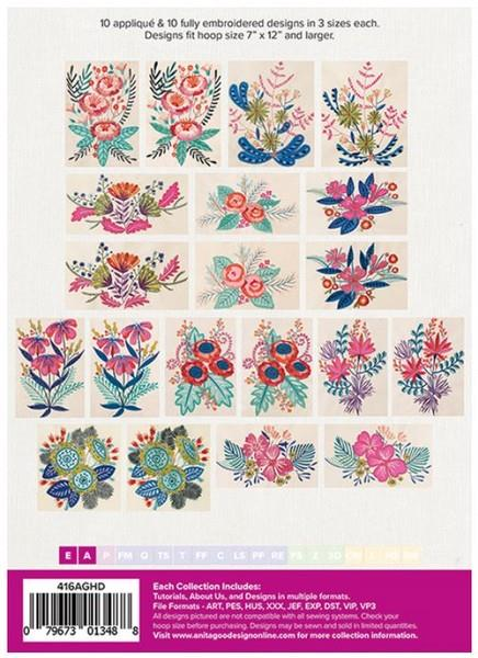 Anita Goodesign vibrant Florals available in Canada at The Quilt Store