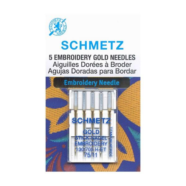 Schmetz Gold Titanium Embroidery Needles 75/11 available at The Quilt Store