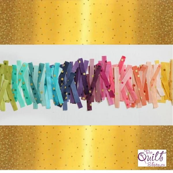 Ombre Confetti Metallic Mustard available in Canada at The Quilt Store