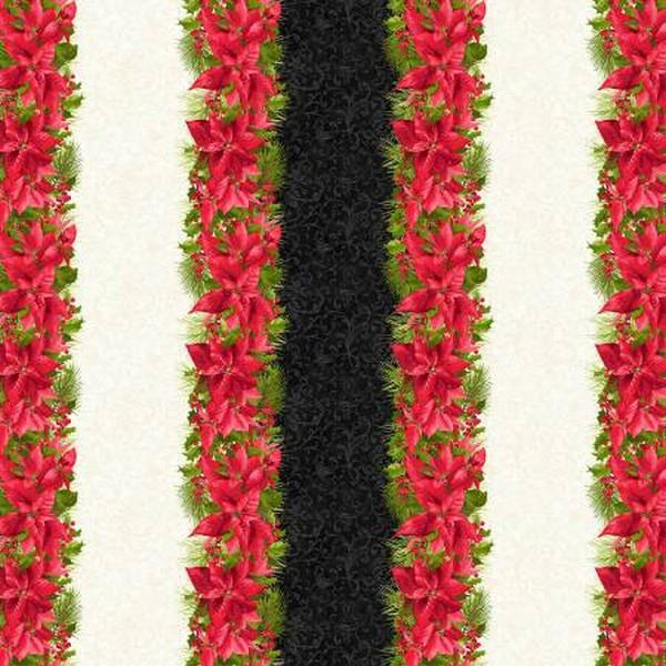 Poinsettia & Pine Floral Stripe available in Canada at The Quilt Store