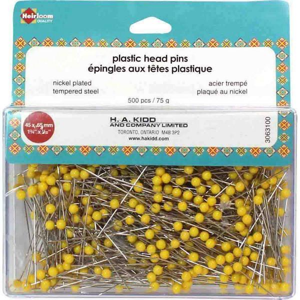 Heirloom Plastic Head Pins Yellow