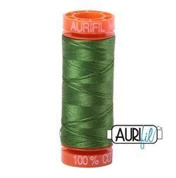 Aurifil 5018 Dark Green Grass 50 wt 200m available in Canada at The Quilt Store