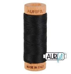 Aurifil 2692 Black 80 wt available in Canada at The Quilt Store