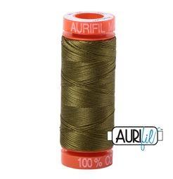 Aurifil 2887 Very Dark Olive 50 wt 200m available in Canada at The Quilt Store