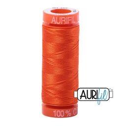 Aurifil 1104 Neon Orange 50 wt 200m Available in Canada at The Quilt Store