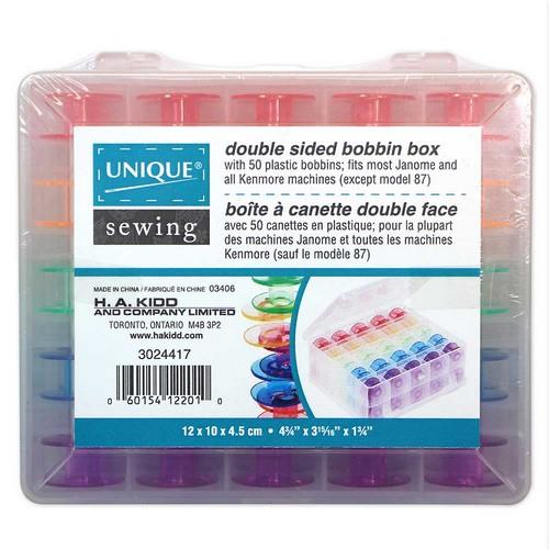 Unique Double Sided Bobbin Storage Box with 50 coloured bobbins available in Canada at The Quilt Store