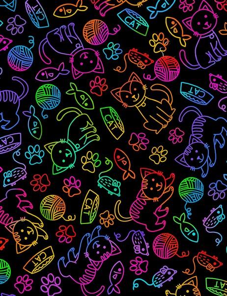 Rainbow Doodle Cat & Mouse by Timeless Treasures available in Canada at The Quilt Store