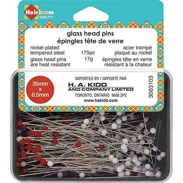 HEIRLOOM Quilting Glass Head Pins Red & White - available in Canada at The Quilt Store
