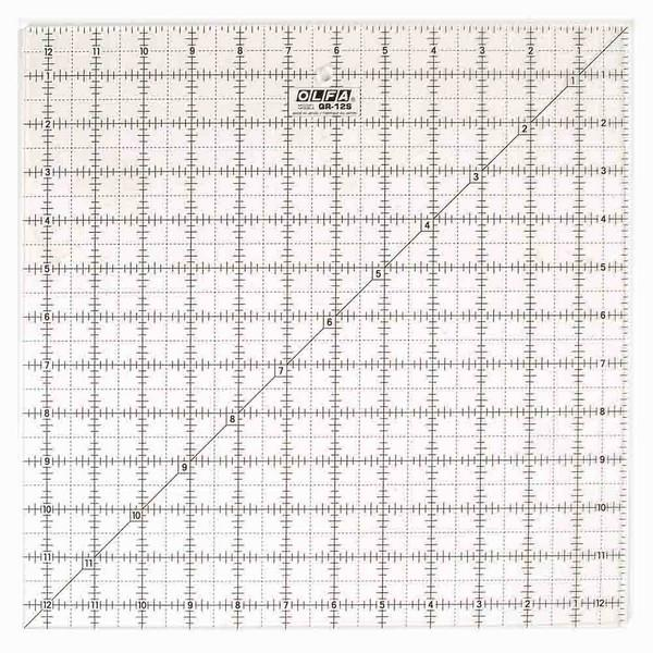 "OLFA 12 1/2"" x 12 1/2"" Non-Slip Ruler available in Canada at The Quilt Store"