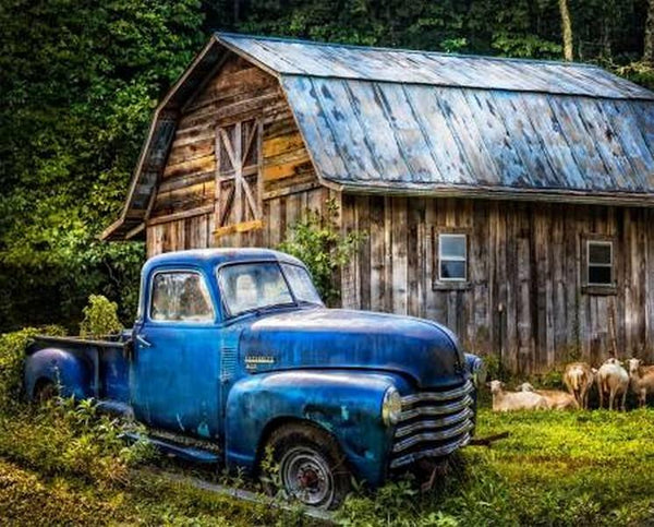 Blue Antique Truck & Barn quilting panel available in Canada at The Quilt Store