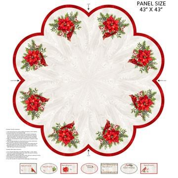 The Scarlet Feather Tree Skirt panel by Deborah Edwards for Northcott available in Canada at The Quilt Store