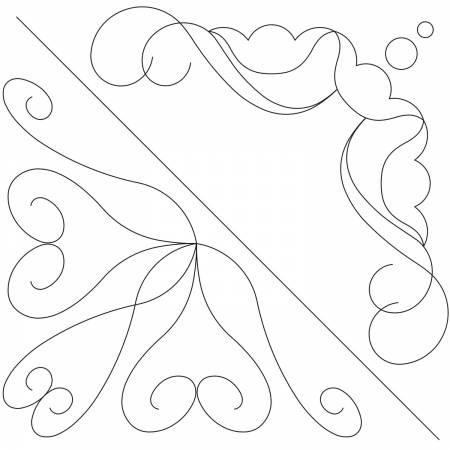 "Stencil Tulip, Pearl & Heart Corners 6 3/4"" available in Canada at The Quilt Store"