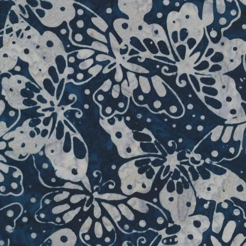 Anthology Fabrics Batik Dark Blue/ Grey Blue Butterflies available in Canada at The Quilt Store