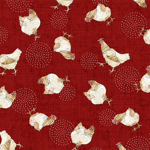 Farm Life Red Chickens by QT Fabrics available in Canada at The Quilt Store