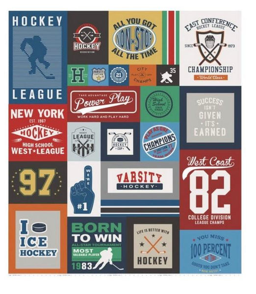 Varsity Hockey panel by Riley Blake available in Canada at The Quilt Store