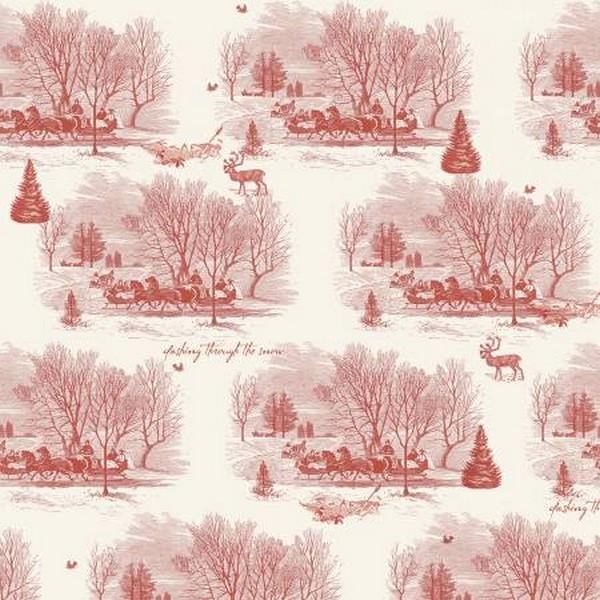 Yuletide Sleigh Toile by Riley Blake Designs available in Canada at The Quilt Store