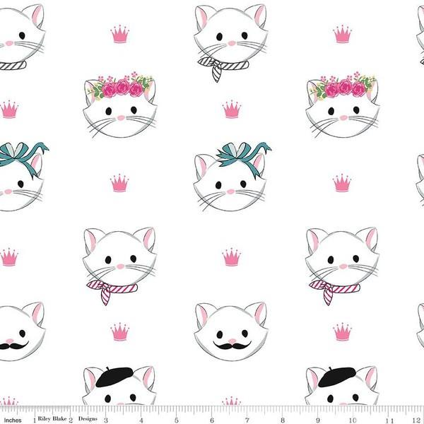 Chloe White Cats Flannel by Melissa Mortenson for Riley Blake available in Canada at The Quilt Store